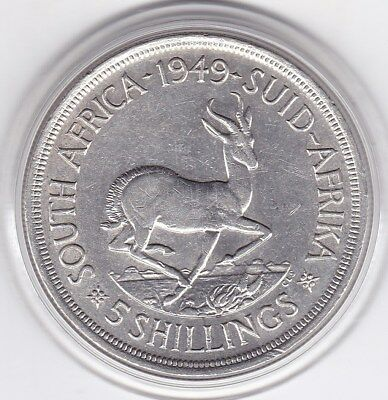 1949  S.A.   Large  80%  Silver  5 Shilling  King  George  VI  Coin
