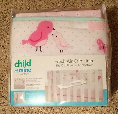 Carter's Child of Mine Fresh Air Crib Liner - Birds / Butterflies - NEW