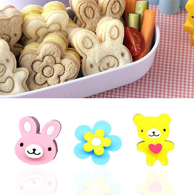 3X Sandwich Toast Crust Cookie Cutter Bread Mold Bento Maker Flower Rabbit Panda