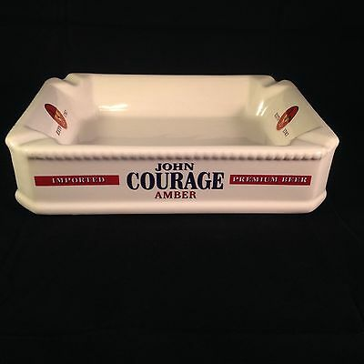 John Courage Amber Imported Premium Beer White Porcelain Ashtray