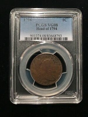 1794 Head of 1794 Flowing Hair Liberty Cap Large Cent PCGS VG8 Very Good Sheldon