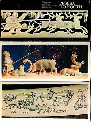Rare Carved Bone 15 PC Russian North Chukchi Eskimo Tobolsk Walrus Tusk faux