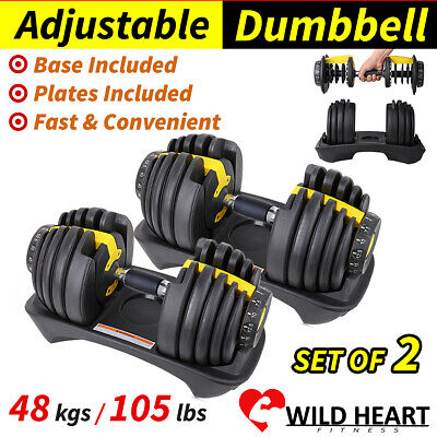 48kg Adjustable Dumbbell Set 2x24kg Home GYM Exercise Equipment Weight
