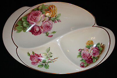 Rare ROYAL WINTON Rose Transfer Triple SECTIONED PLATE Roses Vintage 494