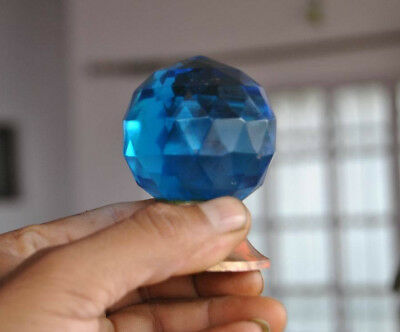 Vtg Victorian Blue Diamond Cut Prism Glass Entrance Mortice Door Knob Pull 1.9""