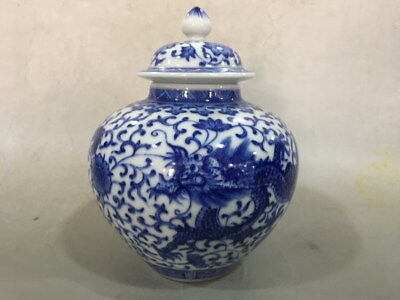 A Beautiful Chinese Qing Dynasty Blue&White Porcelain Dragon Pot