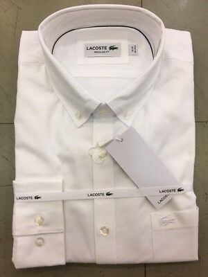 Shirt Long Sleeve Camicia Lacoste Manica Lunga Regular Fit Ch9623 White Bianco