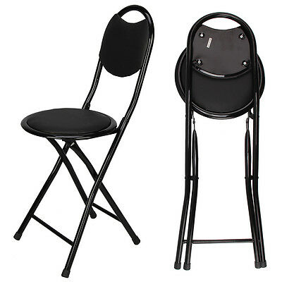 Black Padded Folding High Chair Breakfast Kitchen Bar Stool Seat UK