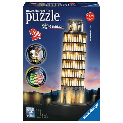 Ravensburger Leaning Tower of Pisa Night Edition 3D Jigsaw (216 Piece) NEW