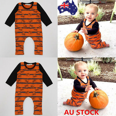 Baby Boys Girl Romper Jumpsuit Pumpkin Bodysuit Halloween Costume Outfit Clothes