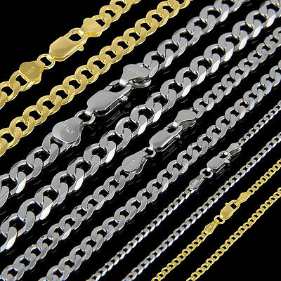925 Heavy Mens Gold & Sterling Silver Curb Chain Necklace 18 20 22 24 26 28 Inch