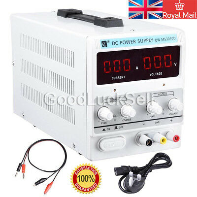 Adjustable 0-10A  0-30V DC Power Supply Precision Variable Digital Lab UK