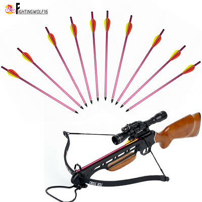 """10X 15"""" Crossbow Bolts  Bow Archery Aluminum Arrow For 150 180 lbs Replaced Tip"""