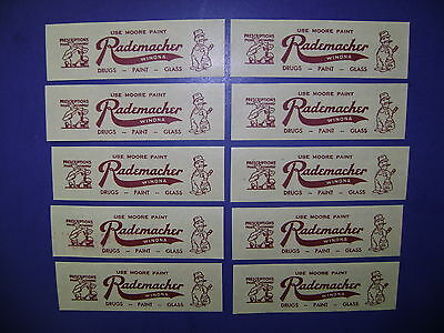 10-Old Rademacher Pharmacy-Drugstore-Medicine Bottle Old Label Lot-Vintage