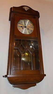 HALLER Wooden PENDULUM Wall CLOCK Vintage GLAZED Bevel TRADITIONAL