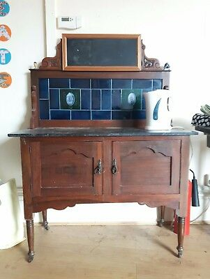 Antique Victorian 'Marble Topped' Washstand. Tiled Back. Cupboard. Hard Wood.
