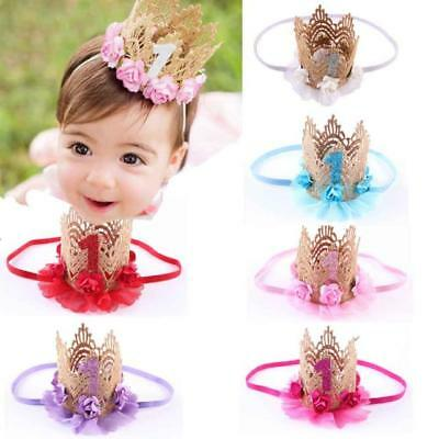Newborn Baby Boy Girl 1st Birthday Party Princess Crown Flower Tiara Headband