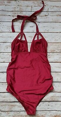 New Wolf & Whistle Maternity Strappy Detail Swimsuit in Red Wild Orchid Swimwear