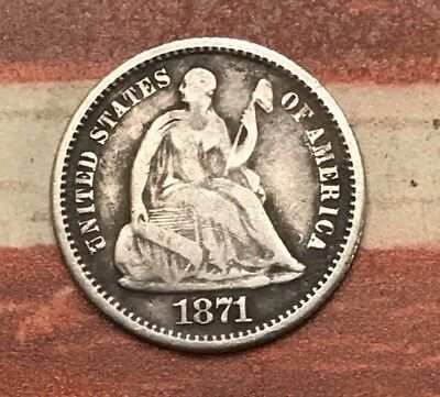 1871 5C Seated Liberty Half Dime 90% Silver Vintage US Coin #MB38 Very Sharp
