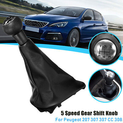 5 Speed Gear Shift Stick Leather Gaitor Gaiter Knob For PEUGEOT 207 307 CC 308