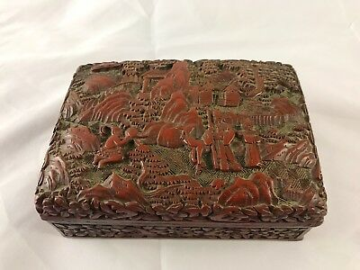 Vintage Chinese Carved Cinnabar Lacquer Box
