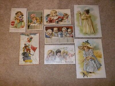 Lot of 8 victorian trade cards - food, coffee, etc.