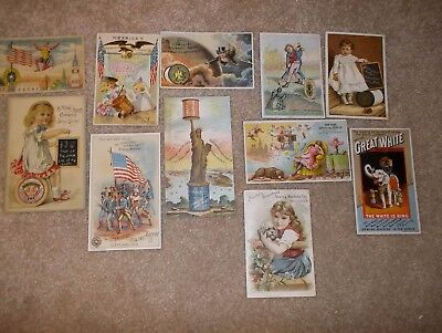 lot of 11 victorian trade cards - thread, sewing machines