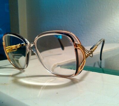 Vintage Luxottica old lady eye glasses, 80s. Plastic frames with metal, lenses