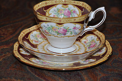 Classic Royal Albert Cup Saucer & Plate Trio in 'Lady Hamilton' Pattern