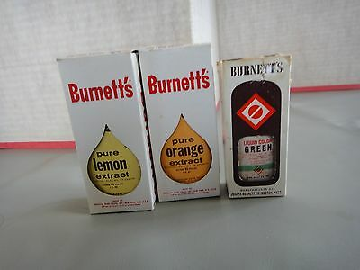 Vintage Burnett's Flavoring Extracts & Green Food Coloring
