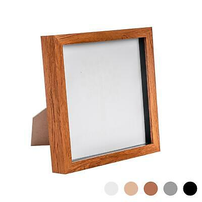 Dark Wood 8x8 Deep Box Photo Picture Frame - Standing & Hanging