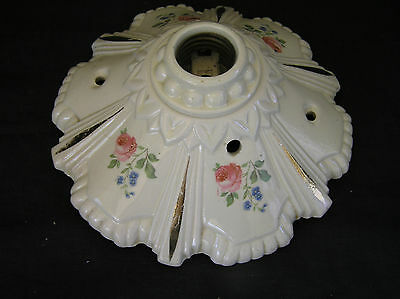 Floral Porcelier Porcelain Flush Mount, Light Fixture Roses & Gold Trim Vintage