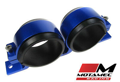 Alloy Twin Fuel Pump Mount Cradle 60mm Injection Pump / Filter Mounting BLUE