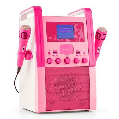 Auna Ka8P-V2 Pk Karaoke Machine Cd Player With 2 Microphones Pink * Free Uk P&p