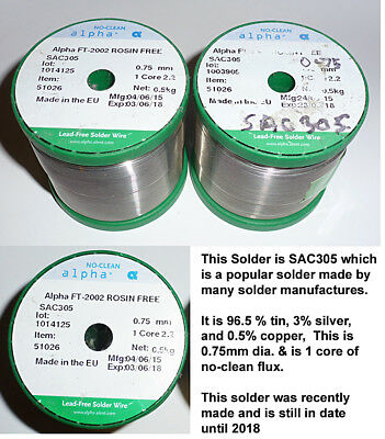 500g of SAC305 Lead free 0.75mm by Alpha - a real bargain