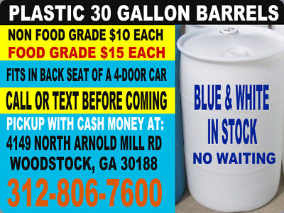 30 Gallon FOOD GRADE plastic barrel drum tank rain water container *NO SHIPPING*