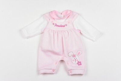 Baby Girl Clothes Dungarees top outfit  Fleece Aardvark Pink NB  0-3 3-6 mth
