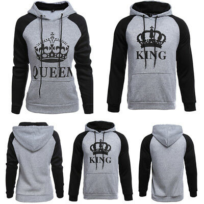 Lover Couple Matching King And Queen Hoodie Jumper Sweater Tops Sweatshirts Tee