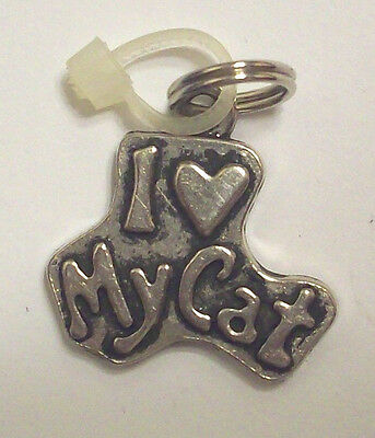 Miniature I Heart My Cat Charm Pendant New Without Tags