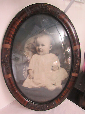 Antique Vintage Oval Tiger Picture Frame Convex Bubble Glass Cute Baby