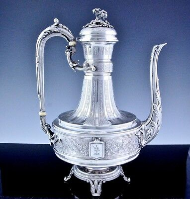 AMAZING c1875 PARIS FRENCH STERLING SILVER FLOWER SOLDIER FIGURAL COFFEE POT