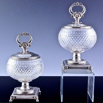 V.RARE PAIR c1800 NAPOLEONIC FRENCH STERLING SILVER CUT GLASS TUREEN BOWL VASES