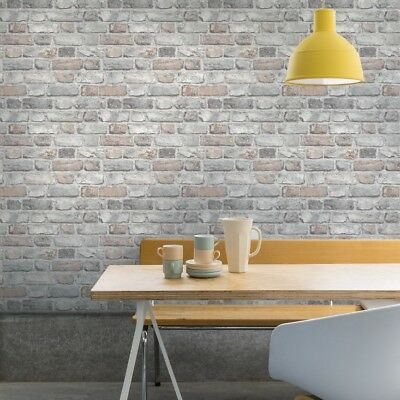 Light Grey Paste the Wall Brick Wallpaper with Vintage Pastel Shade A28902