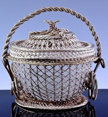 Rare Victorian Chinese Russian Filigree Solid Silver Lidded Basket Serving Bowl