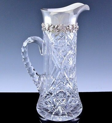 Incredble Large Birks Sterling Silver Lily Pad Abp Cut Glass Pitcher Jug Vase