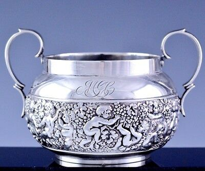 Rare Tiffany & Co Sterling Silver Olympian Figural Repousse Sugar Serving Bowl