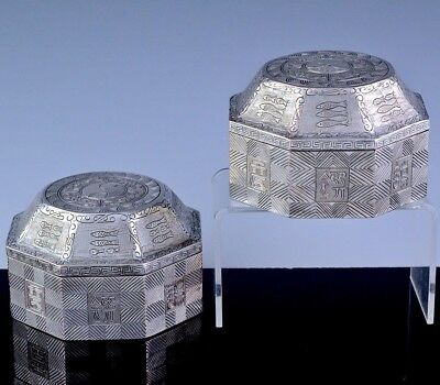 Pair Fine Chinese Solid Silver Etched Fish & Character Designs Snuff Seal Boxes