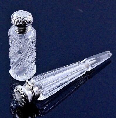 Estate Lot 2 Antique Sterling Silver Cut Glass Traveling Perfume Scent Bottles