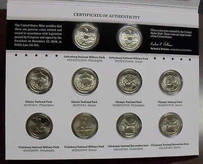 2011 US Mint America the Beautiful Quarters Uncirculated 10-Coin Set N93