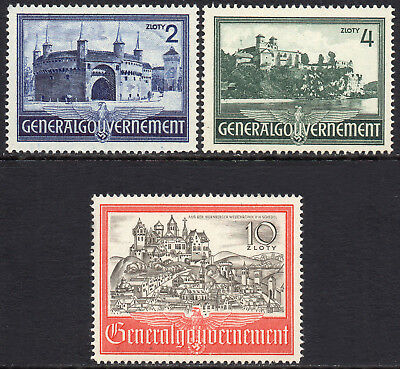 GERMANY 3rd REICH Occupations POLAND 1941 Buildings Issue Fine MINT NH Mi.63/5